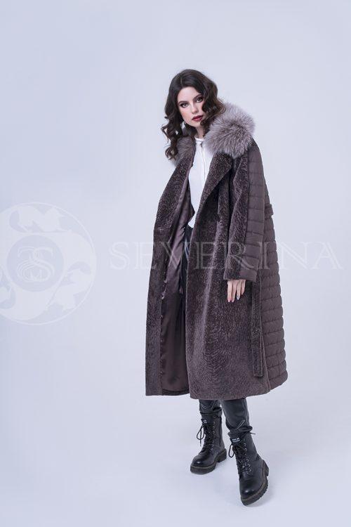 пальто комбинированное с мехом норки и песца в цвете соболь