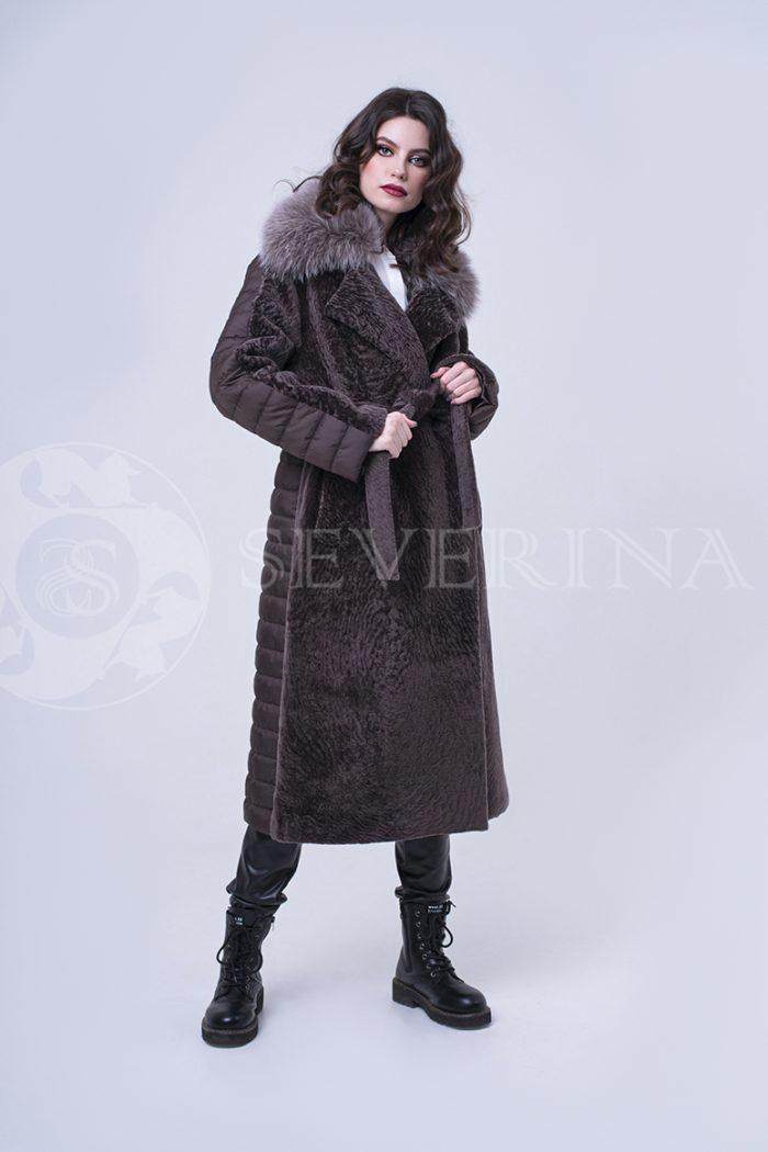 пальто комбинированное с мехом овчины и песца