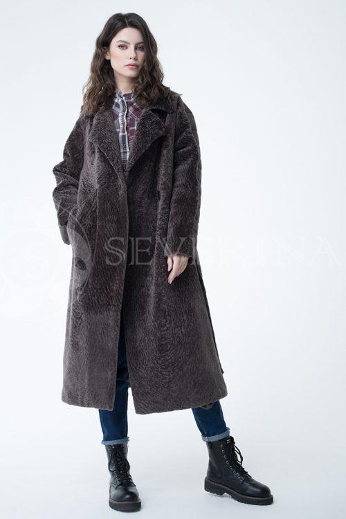 пальто стёганое с отделкой мехом норки-крестовки sapphire cross