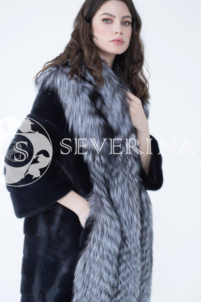 шуба из меха скандинавской норки с отделкой из меха серебристо-черной лисы