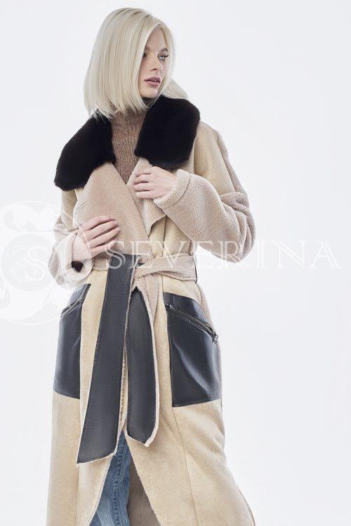 doletskiy 0698 500x750 - шуба-дублёнка из овечьей шерсти с отделкой кожей