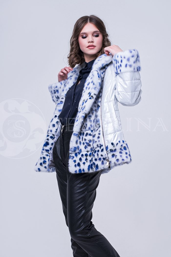 doletskiy 1703 700x1050 - куртка с отделкой из меха норки white с анималистичным принтом