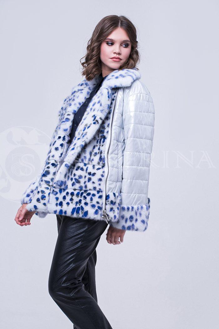 doletskiy 1711 700x1050 - куртка с отделкой из меха норки white с анималистичным принтом