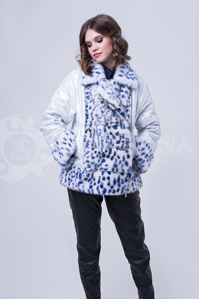 doletskiy 1774 700x1050 - куртка с отделкой из меха норки white с анималистичным принтом