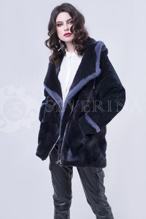 шуба-куртка из меха норки с отделкой мехом овчины