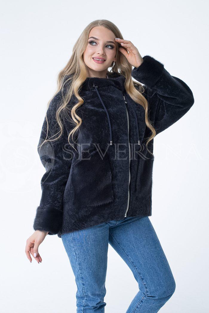 "kosuha t sinjaja ovchina 2 700x1050 - куртка ""косуха"" из меха овчины с отделкой мехом норки"