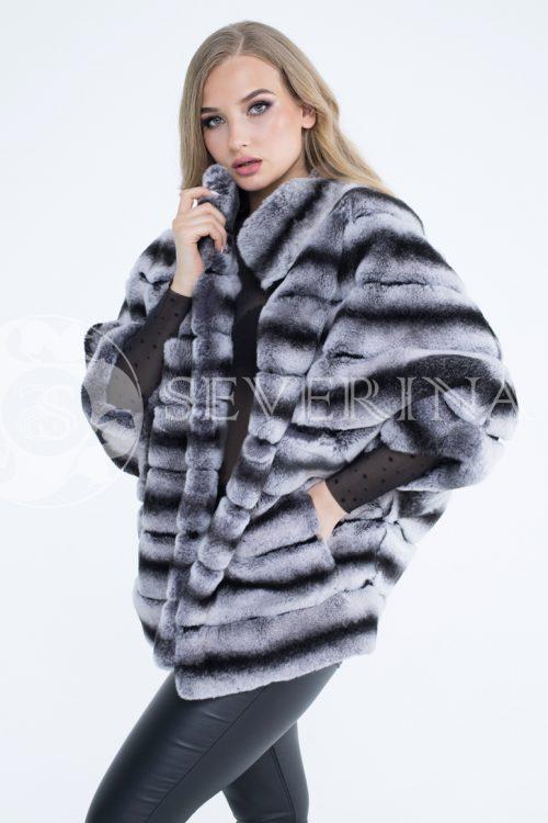 krolik orilag pod shinshillu poncho 1 500x750 - шуба из меха скандинавской норки с отделкой из меха серебристо-черной лисы
