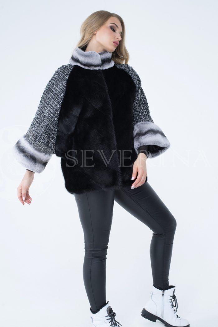 kurtka shanel norka chernaja shinshilla 1 700x1050 - куртка из меха норки с отделкой мехом орилага и рукавами из твида Chanel