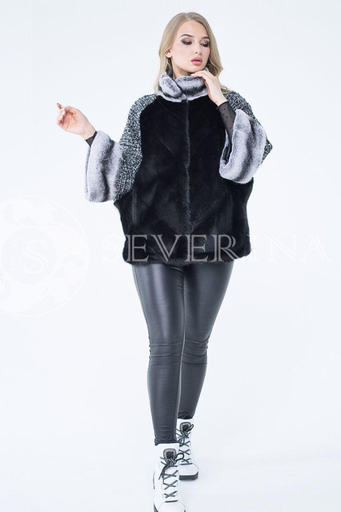 kurtka shanel norka chernaja shinshilla 2 2 700x1050 - куртка из меха норки с отделкой мехом орилага и рукавами из твида Chanel