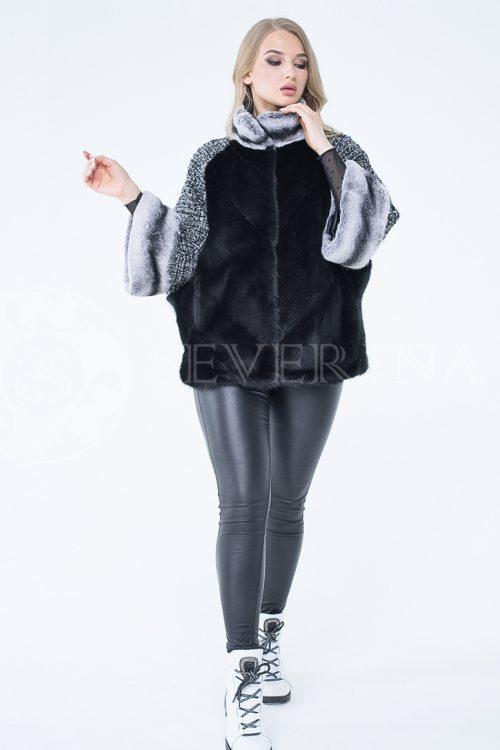 kurtka shanel norka chernaja shinshilla 2 500x750 - куртка из меха норки с отделкой мехом орилага и рукавами из твида Chanel