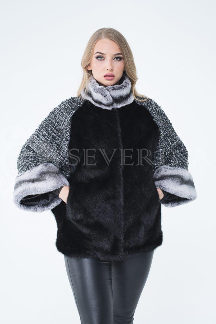 lev300263 1 1 700x1050 - куртка из меха норки с отделкой мехом орилага и рукавами из твида Chanel