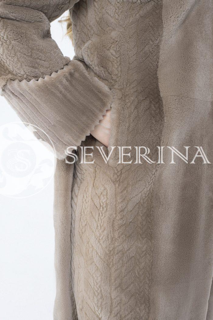 шуба из комбинированного меха норки pastel