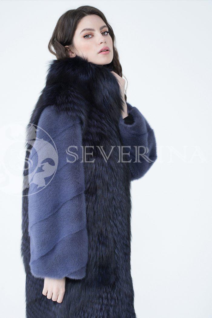 шуба из меха серебристо-черной лисы с отделкой мехом норки