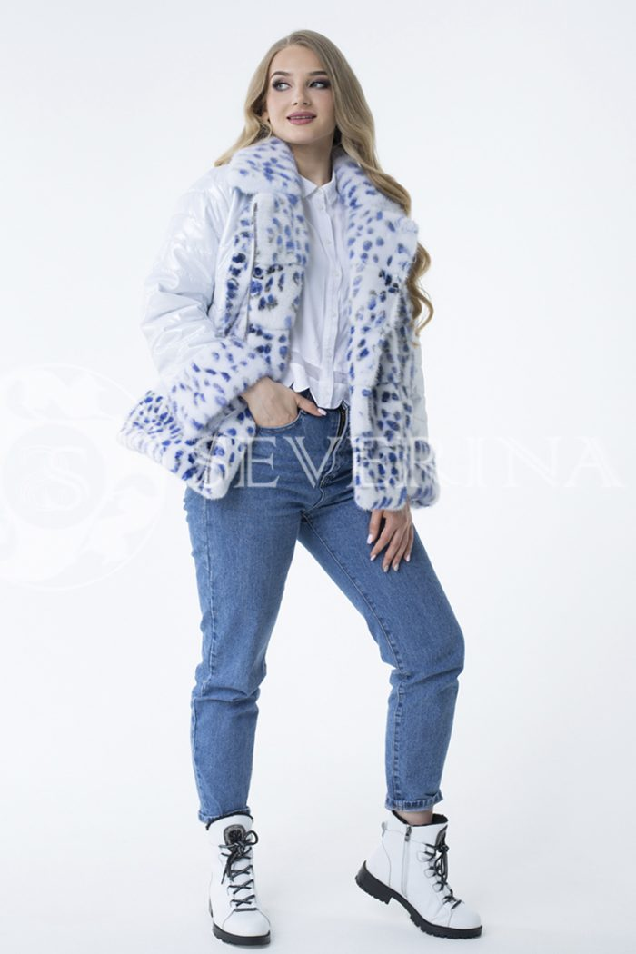 lev300793 700x1050 - куртка с отделкой из меха норки white с анималистичным принтом