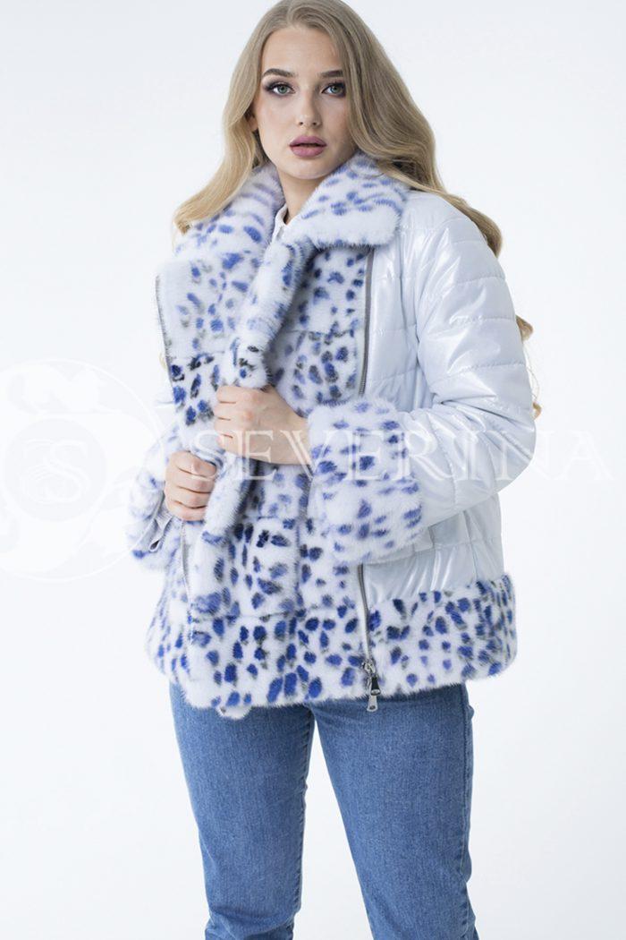 lev300828 700x1050 - куртка с отделкой из меха норки white с анималистичным принтом