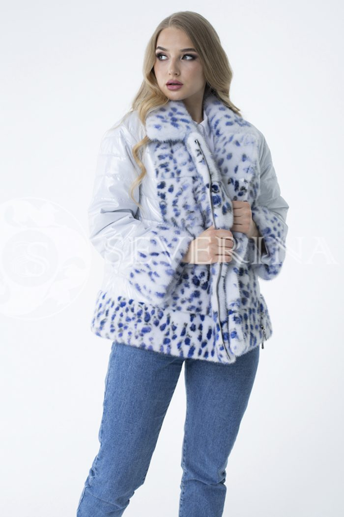 куртка с отделкой из меха норки white с анималистичным принтом