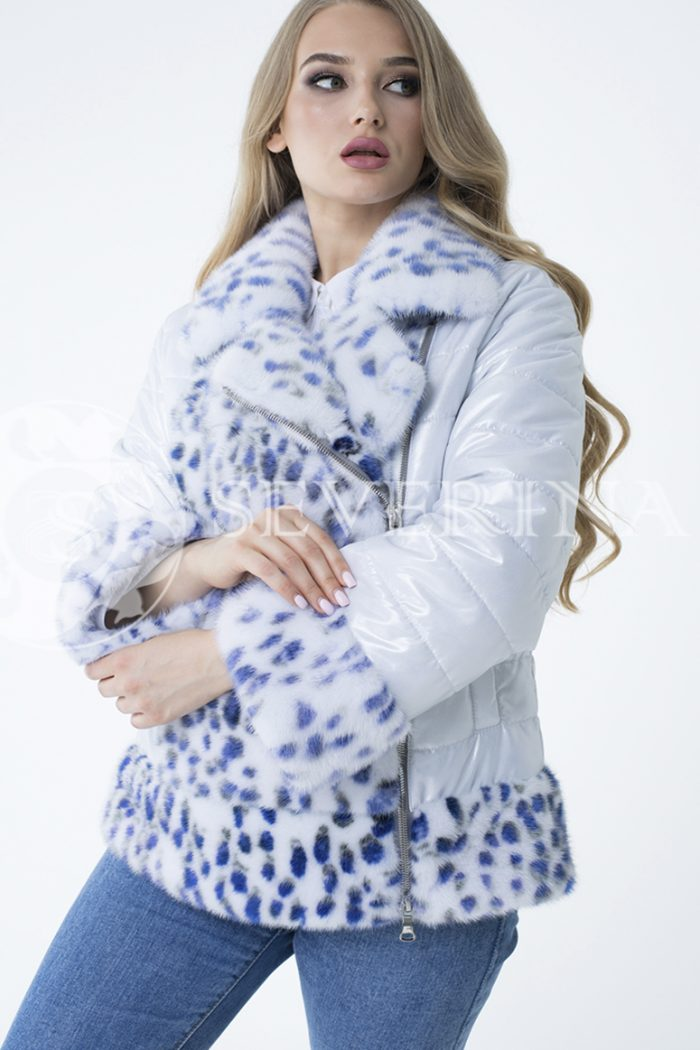 lev300889 700x1050 - куртка с отделкой из меха норки white с анималистичным принтом