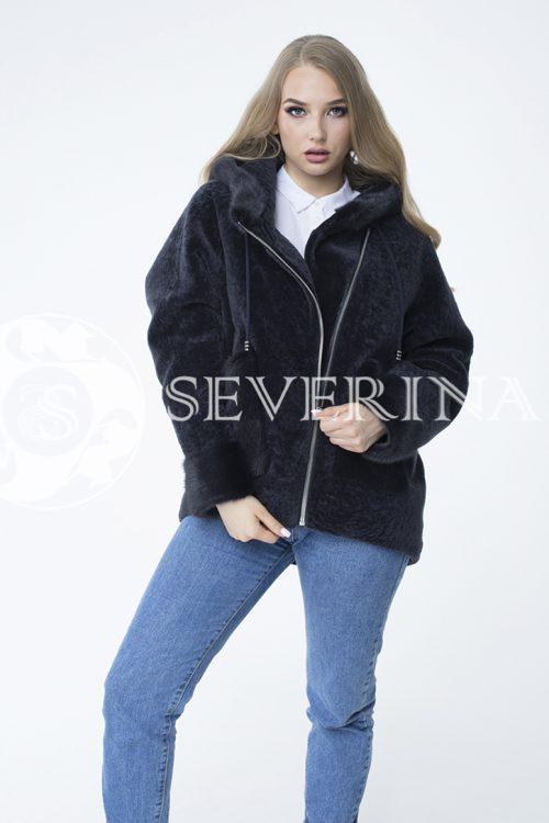 """куртка """"косуха"""" из меха овчины с отделкой мехом норки"""