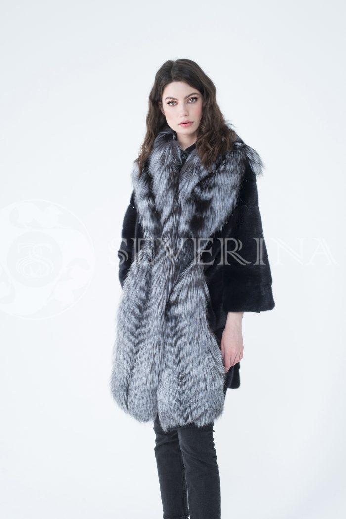 lev302317 700x1050 - шуба из меха скандинавской норки с отделкой из меха серебристо-черной лисы