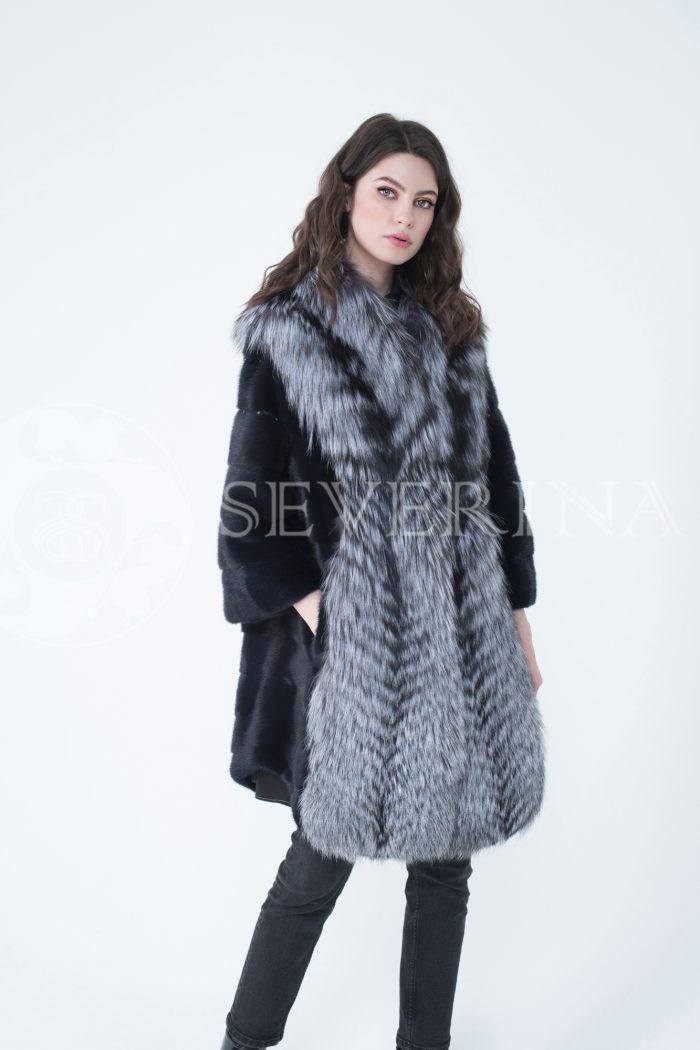 lev302318 700x1050 - шуба из меха скандинавской норки с отделкой из меха серебристо-черной лисы