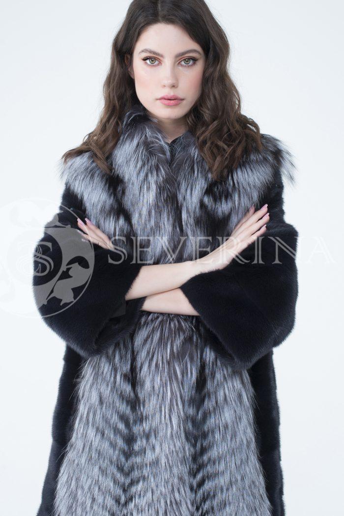 lev302324 1 2 700x1050 - шуба из меха скандинавской норки с отделкой из меха серебристо-черной лисы