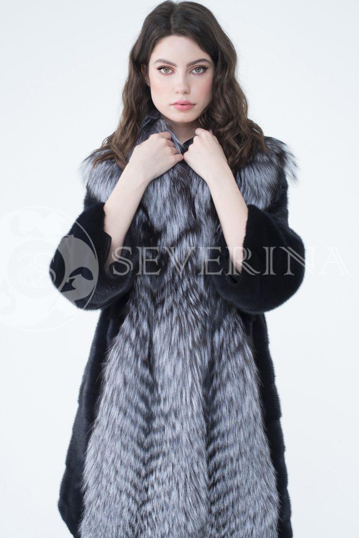 lev302330 2 700x1050 - шуба из меха скандинавской норки с отделкой из меха серебристо-черной лисы