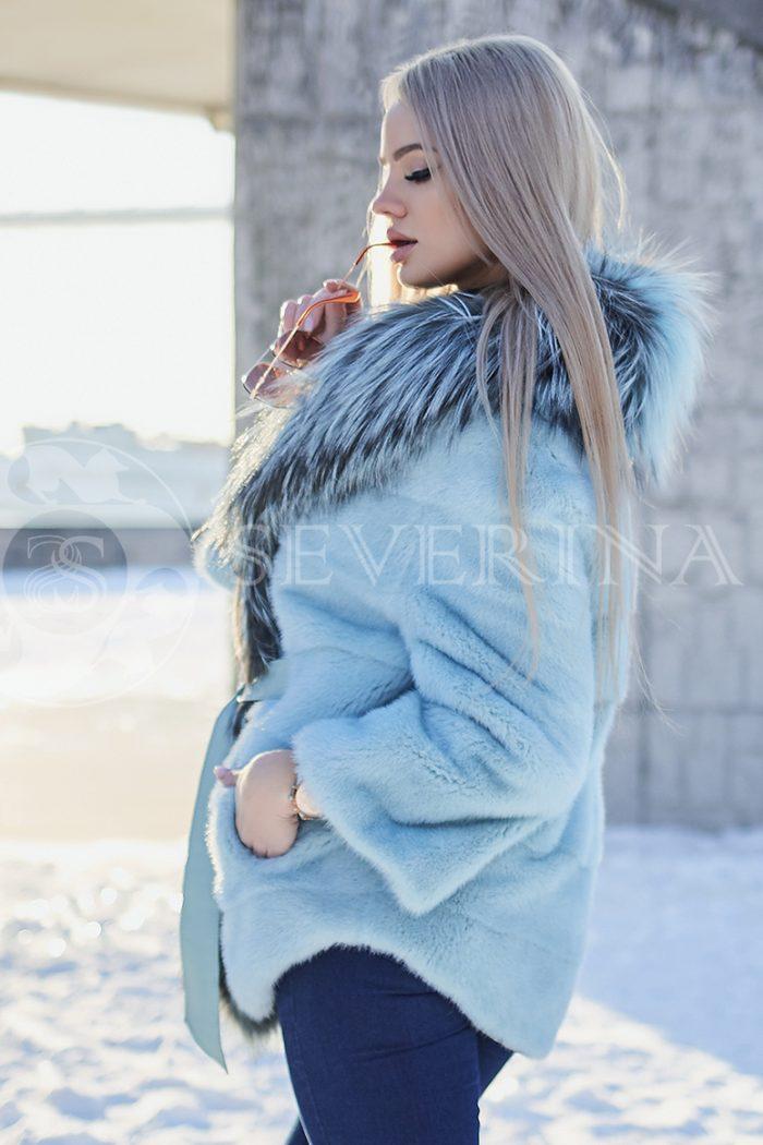 polzovatelskoe imja 5627 700x1050 - шуба из меха норки бирюзового цвета с отделкой из меха серебристо-черной лисы