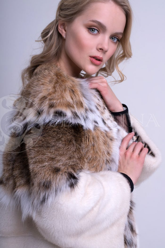 шуба из меха норки pearl с отделкой мехом рыси