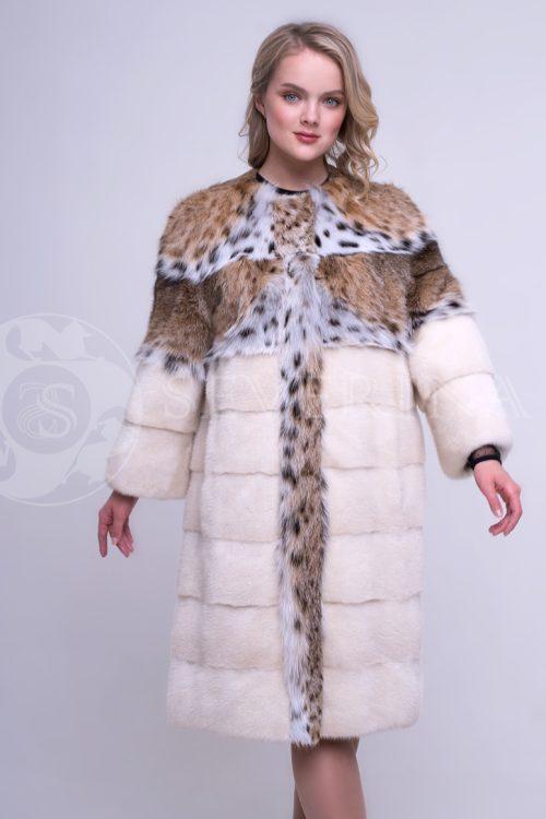 bezhevaja norka koketka rys 3 500x750 - шуба из меха норки pearl с отделкой мехом рыси