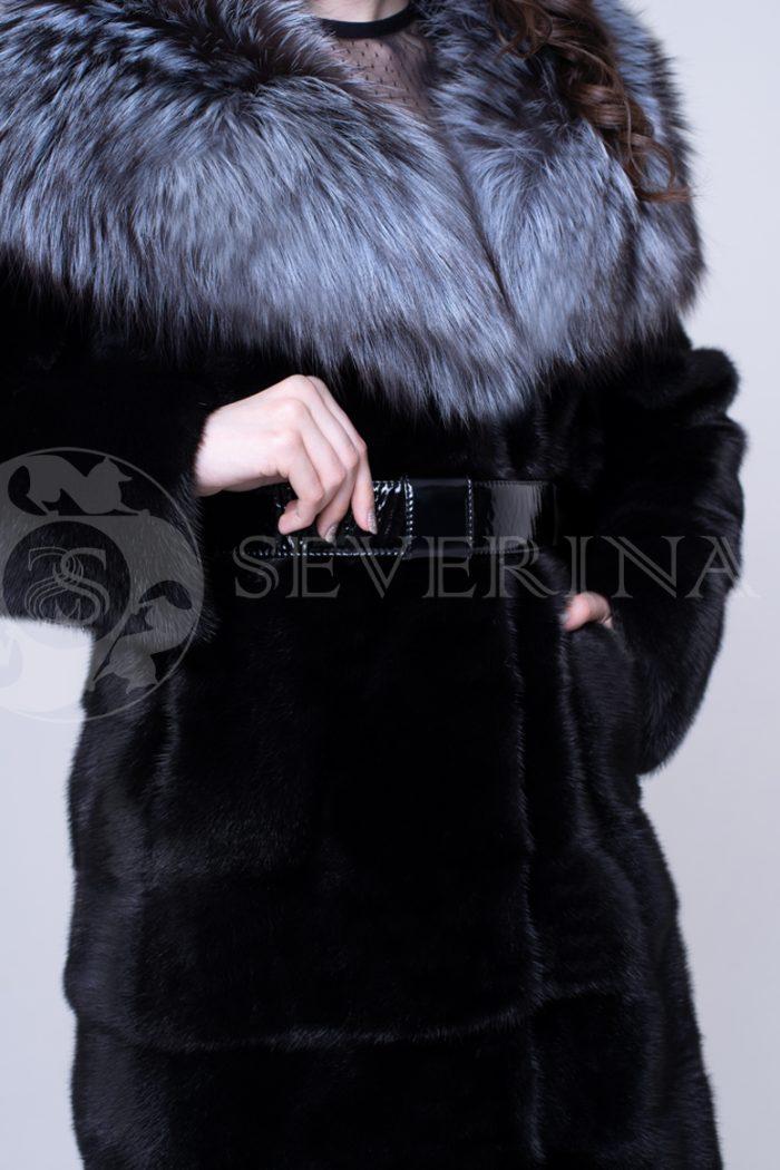 """шуба из меха норки """"черный бриллиант"""" с воротником-капюшоном из меха серебристо-черной лисы"""