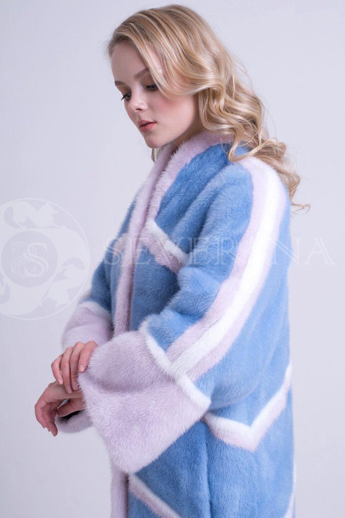 шуба из меха норки нежно-голубого цвета