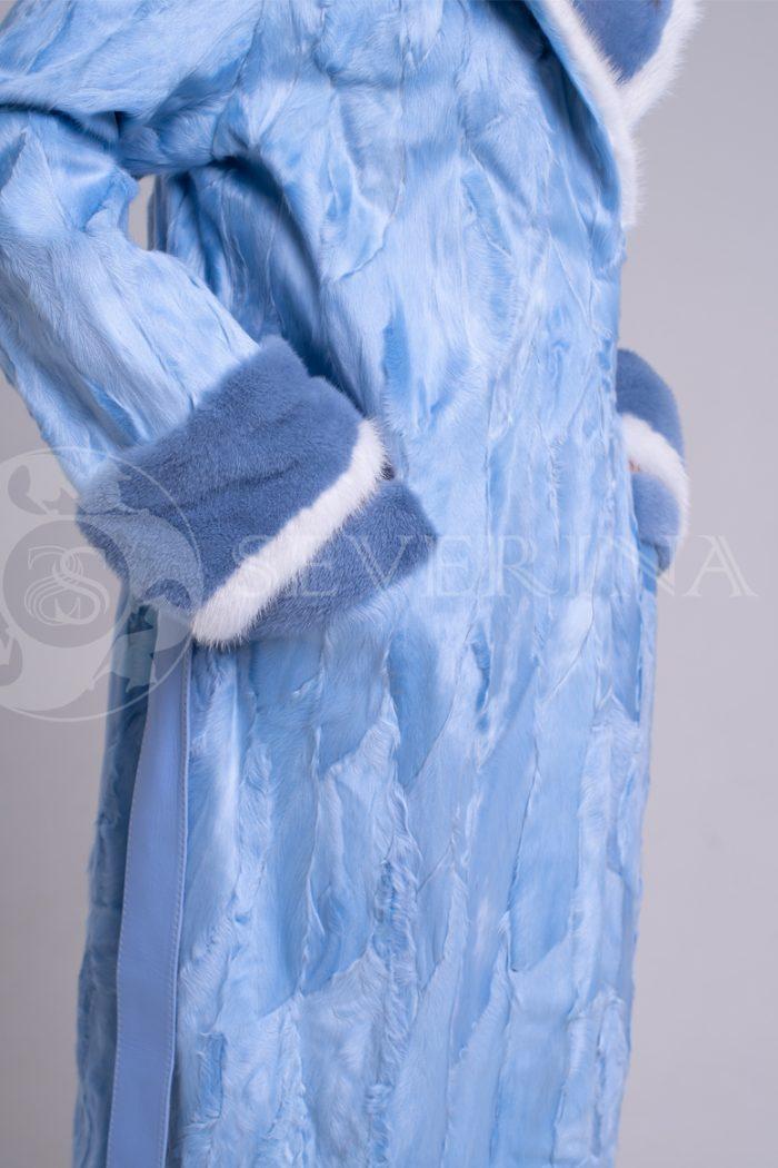 шуба из меха каракульчи нежно-голубого цвета с отделкой из меха норки
