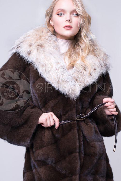 шуба из меха норки scanbrown с отделкой мехом рыси
