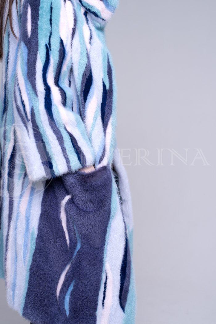 шуба из цветного меха норки в стиле «пэчворк»