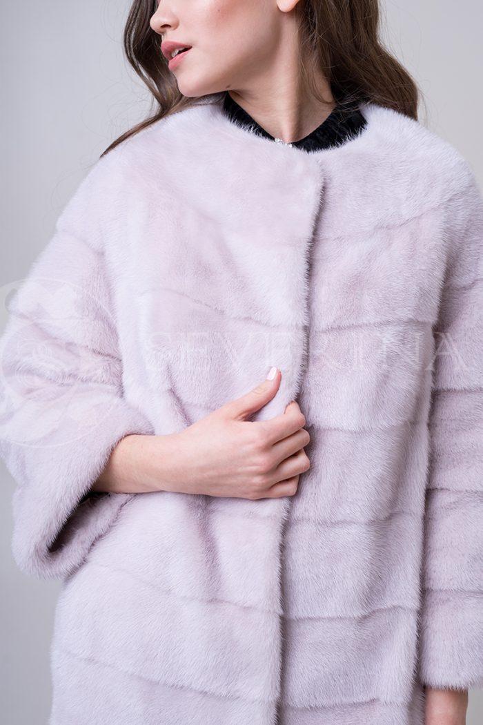 шуба из меха норки нежно-розовового цвета