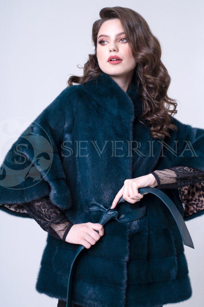 sine birjuzovoe poncho 2 700x1050 - шуба из меха норки темно-лазурного цвета