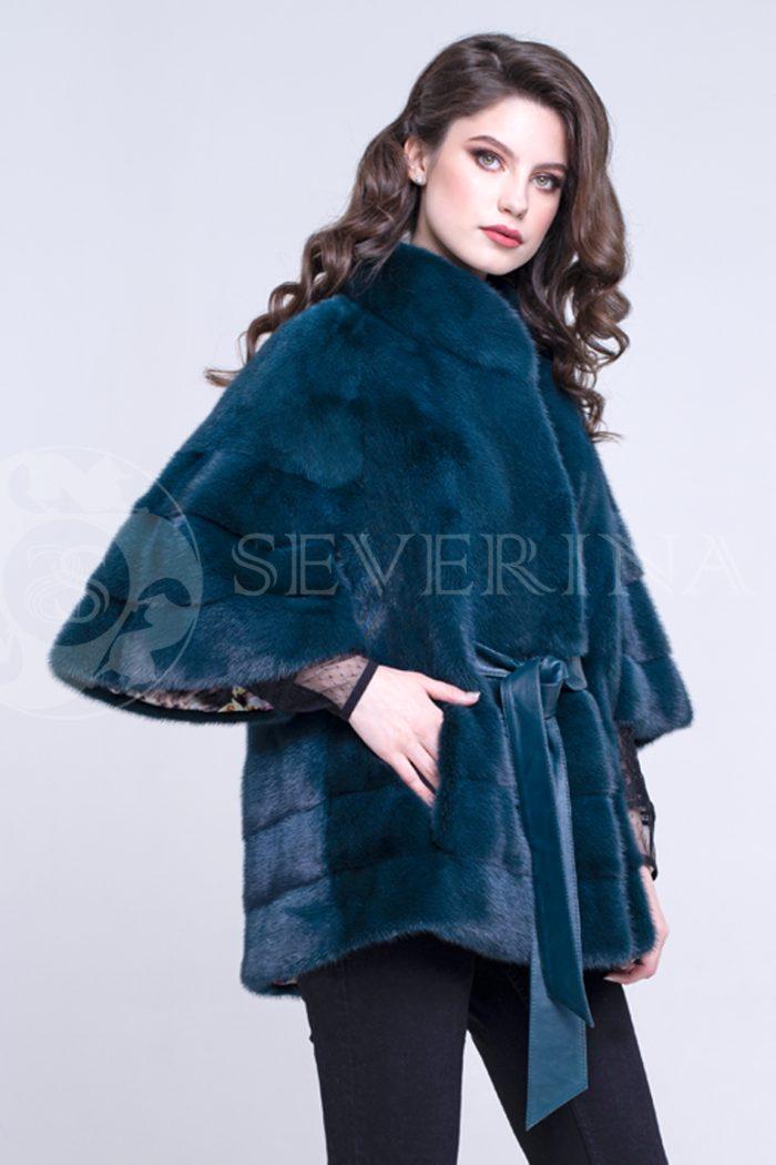 sine birjuzovoe poncho 4 700x1050 - шуба из меха норки темно-лазурного цвета