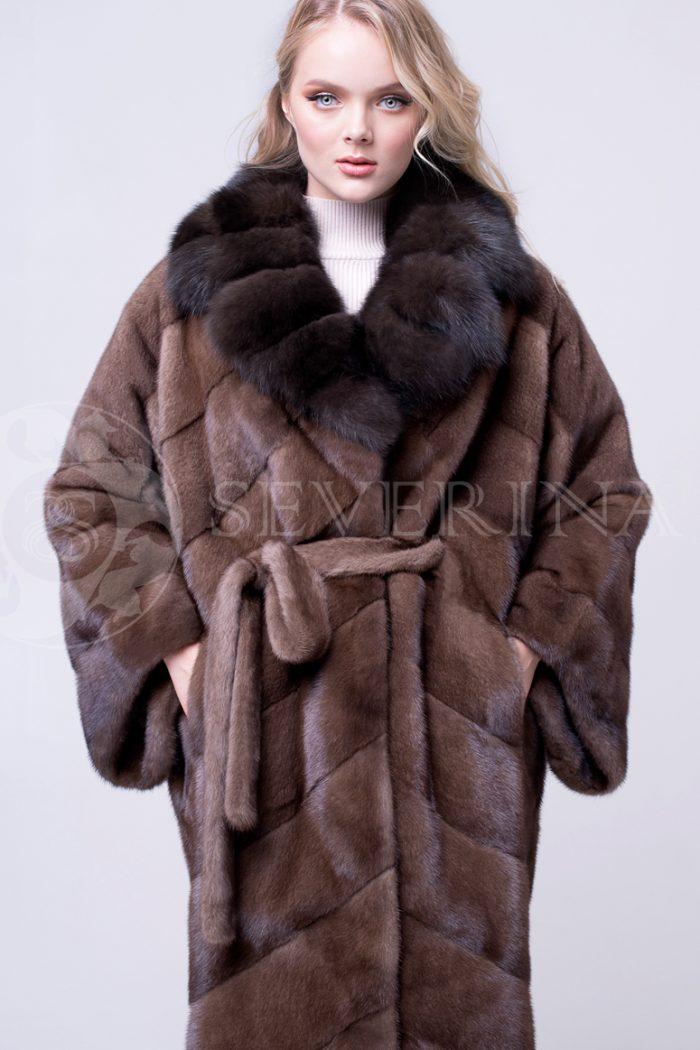 sv.kor norka oversajz vorotnik lackan temnyj 3 700x1050 - шуба из меха норки brown с отделкой мехом соболя