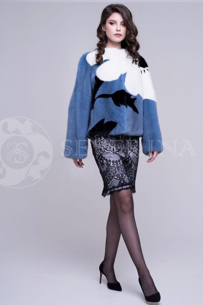 sv.sinjaja korotkaja krupnyj cvetok 3 700x1050 - шуба из меха норки пастельно-синего цвета с инкрустацией