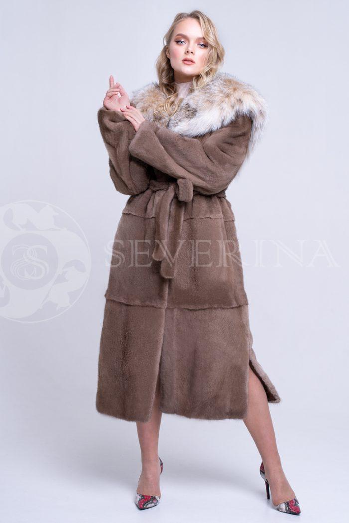 шуба из меха норки brown с отделкой мехом рыси
