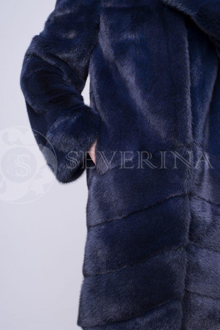 шуба их меха норки темно-синего цвета сапфир