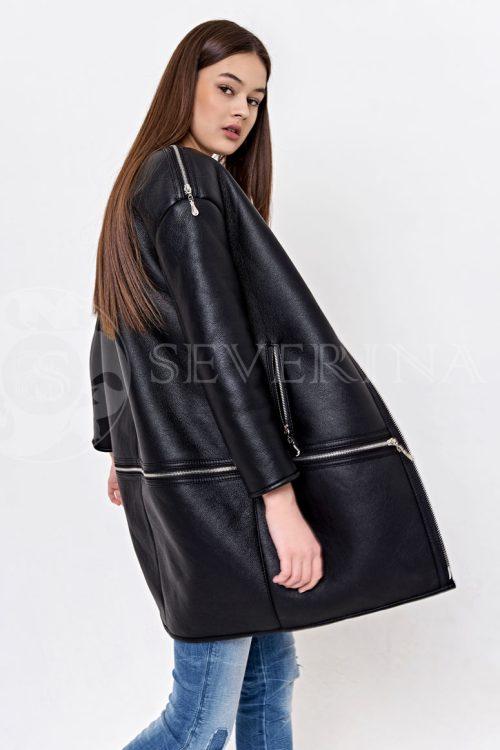 куртка-дубленка удлиненная с имитацией трансформера