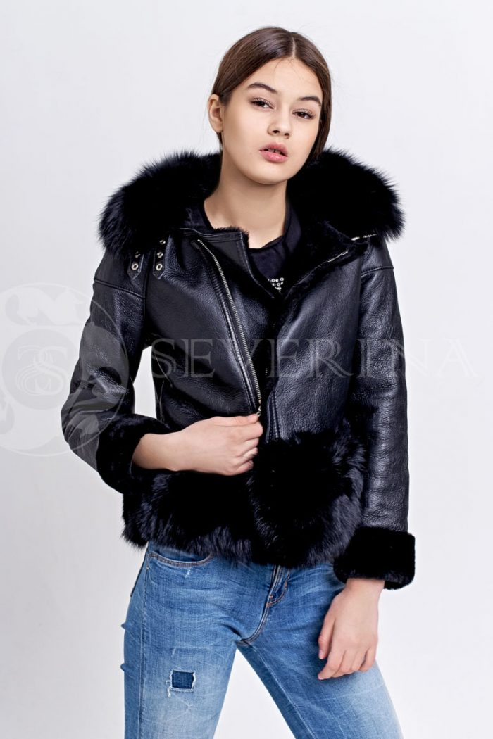 chernaja1 700x1050 - куртка-дубленка с меховой отделкой