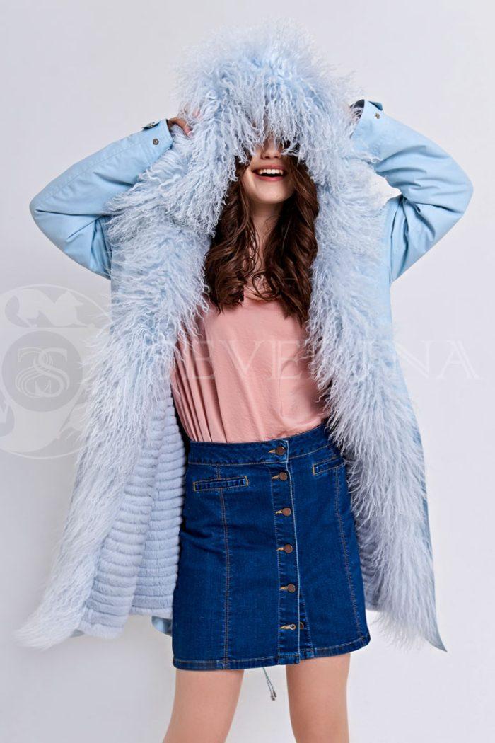Куртка-парка с отделкой мехом ламы