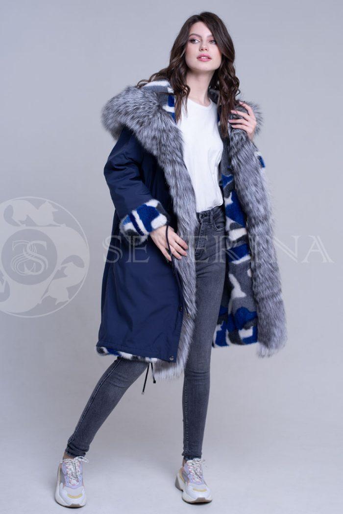 sinjaja2 700x1050 - двусторонняя куртка-парка из цветного меха норки