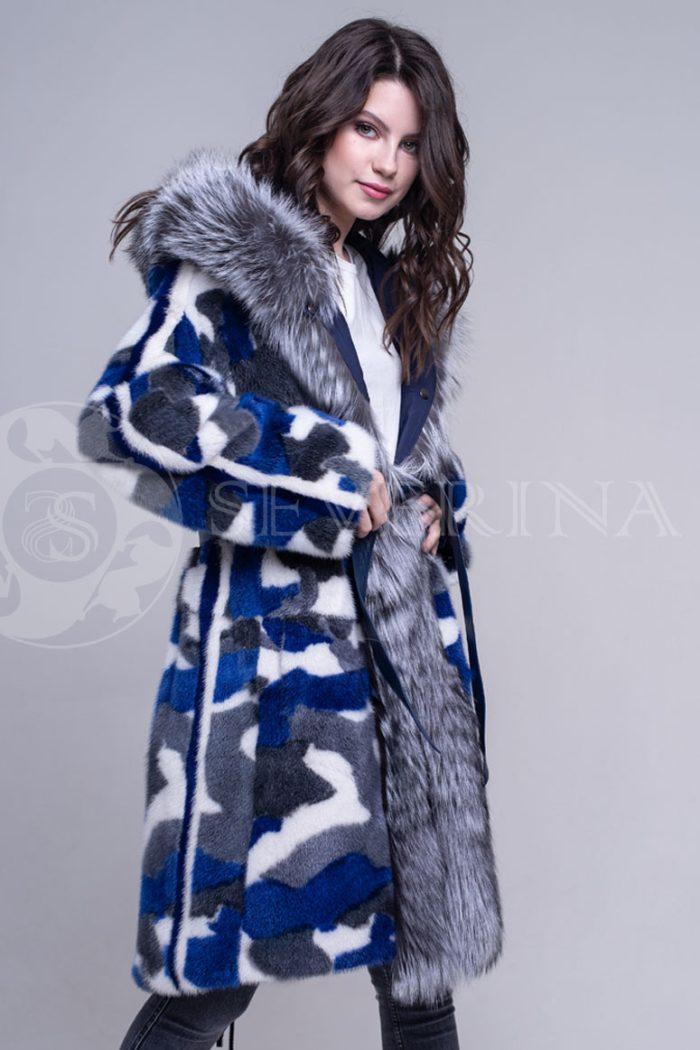 sinjaja3 700x1050 - двусторонняя куртка-парка из цветного меха норки