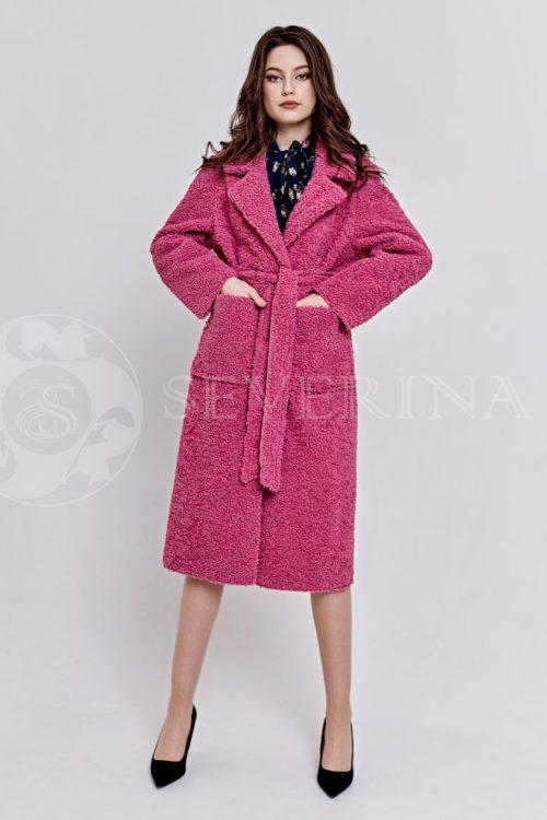 rozovoe1 500x750 - пальто из букле брусничного цвета