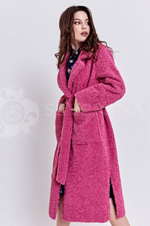 rozovoe4 500x750 - пальто из букле брусничного цвета