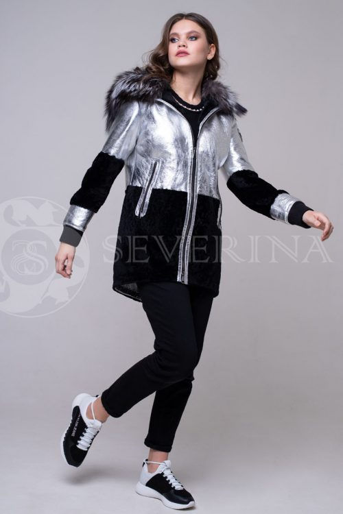 serebro chernyj1 500x750 - куртка-дубленка из металлизированной кожи и овчины с отделкой мехом чернобурки