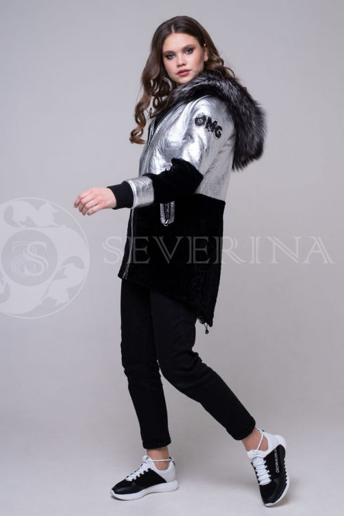 куртка-дубленка с отделкой мехом чернобурки